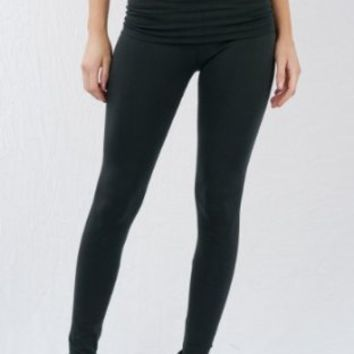 Basic House Women's Casual Cotton Spandex Fold Over Waist Leggings Sizing