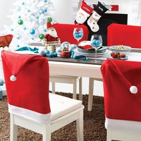 Christmas Dinner Decoration Decor Santa Clause Red Hat Chair Back Cover = 1946160644