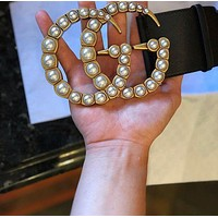 Gucci Popular Classic Women Metal Double G Letter Pearl Buckle Leather Belt I/A