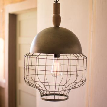 Caged Pendant Light with Metal Dome and Turned Wood Finial