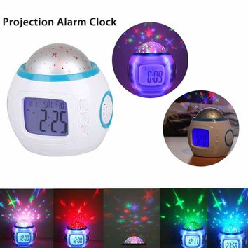 LED Projection Alarm Clock Kids Music Star Sky Calendar Night Light Thermometer 715444540486