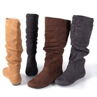 Journee Collection Womens Regular Sized and Wide-Calf Mid-Calf Slouch Riding Boots