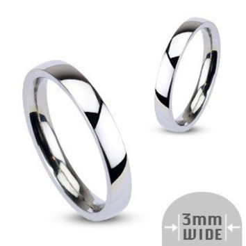 I Do! - 3mm Glossy Silver Stainless Steel Traditional Wedding Band
