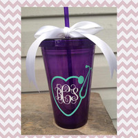 Monogram; Nurse; Stethoscope; Heart; Tumbler; Gift; Stocking Stuffer; Cup; Personalized