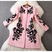 Pink Black Long Sleeve Floral Embroidered Scoop Neck Snap 3/4 Length Wool Coat
