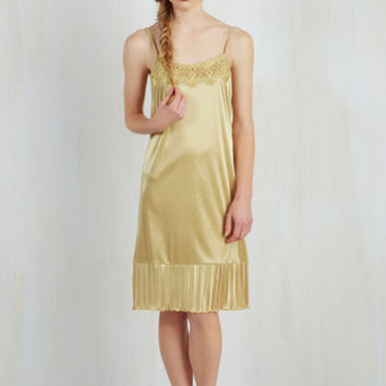 Vintage Inspired Spaghetti Straps Foundation Fascination Full Slip in Gold