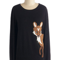 Sugarhill Boutique Rustic Mid-length Long Sleeve Fox Trot on By Sweater