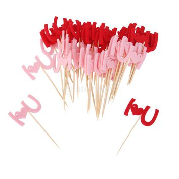 50pcs I LOVE U Food Fruit Picks Party Toothpick Cupcake Cocktail Decor