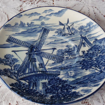 Decorative Blue and White Windmill Plate