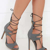Fashion District Grey Nubuck Leg-Wrap Heels
