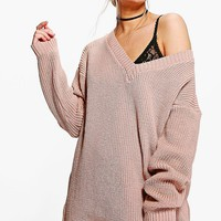 Erin Rib V-Neck Jumper Dress | Boohoo