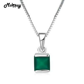 MoBuy MBNI038 Natural Gemstone Square Green Chalcedony Necklaces & Pendants 925 Sterling-Silver-Jewelry White Gold Fine Jewelry