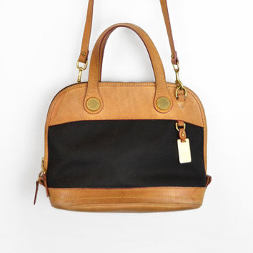 Vintage Dooney & Bourke Cabriolet Leather Zip Zip Satchel Handbag in Black and British Tan