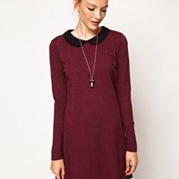 ASOS Swing Dress With Peter Pan Collar And Long Sleeves at asos.com