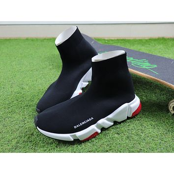 Balenciaga Speed stretch Knit Mid Sneakers Black White Red Shoes - Sale