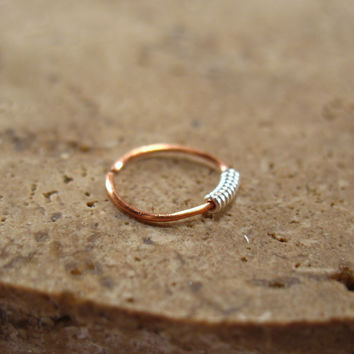 Copper Nose Ring Silver Wrap