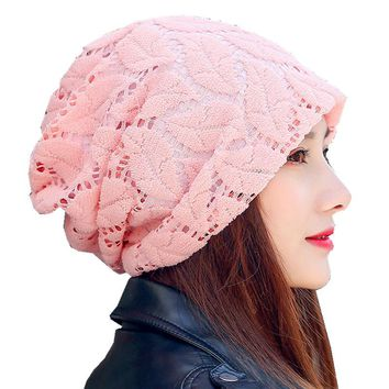 Turban Hat Lace Beanies For Ladies Women Skullies Beanie Cap Cotton Female Knitted Leaves Mesh Baggy Caps Girl Casual Hat
