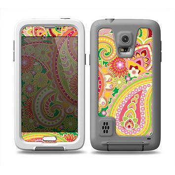 The Vibrant Green and Pink Paisley Pattern Skin Samsung Galaxy S5 frē LifeProof Case