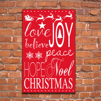 Wooden Christmas sign.  Choose from red/white, black/cream or bluegree/white. Handmade. Approx. 12x19x3/4 inches