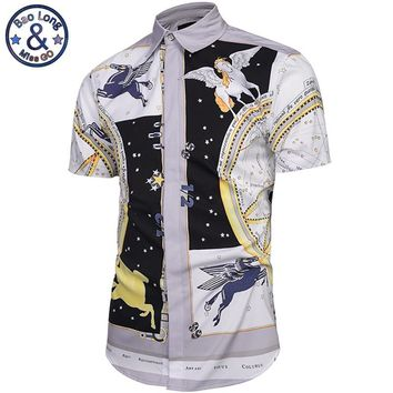 2017 Europe and America Top Hot Flying Horse Vintage Printing Short Sleeve Shirt Men Shirts Single Breasted Casual shirts M-3XL
