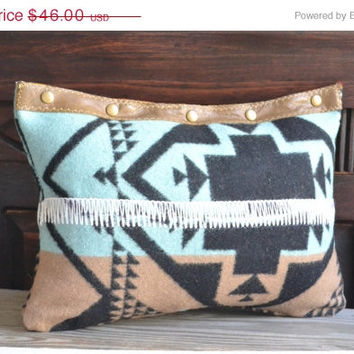 ON SALE Wool Tribal Pillow - Geometric Wool Decorative Pillow - Native Southwest Pillows