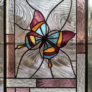 Butterfly Stained Glass Window Panel - Glass Art - Pink - Purple - Clear Glass