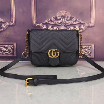 DCCKVQ8 Gucci' Women All-match Fashion Simple Double G Wave Stripe Quilted Small Metal Chain Single Shoulder Messenger Bag