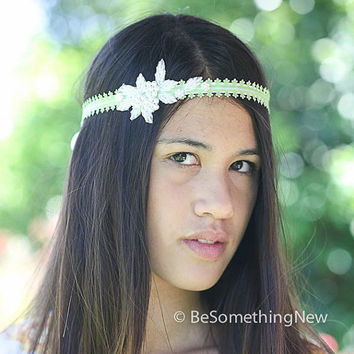 Green ribbon tie headband with pearls, gatsby wedding hair acesories