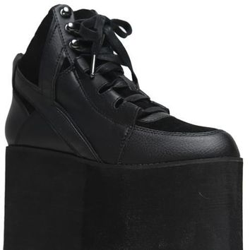 YRU Qozmo Hi Black Platform Rave Shoes