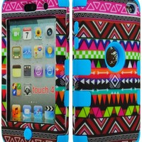 Bastex Hybrid Case for Apple Ipod Touch 4, 4th Generation - Sky Blue Silicone / Aztec Tribal Hard