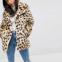 ASOS PETITE Faux Fur Coat in Leopard at asos.com
