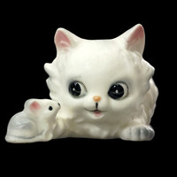 Kitten and Mouse Figurine, Vintage Josef Originals Cat Figurines, White Persian Cat Collectibles, Cute Animal Knickknacks, Cat Lover Gift