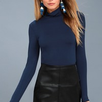 Hey There Navy Blue Long Sleeve Mock Neck Top