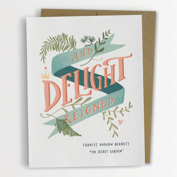 The Secret Garden Delight Reigned Wedding Card Hand Lettered 148-C