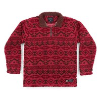 Appalachian Peak Sherpa Pullover in Washed Red and Brown by Southern Marsh