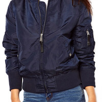 ROMWE Zippered Elastic Blue Coat
