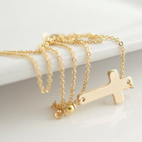 Sideways Cross Necklace, Gold Necklace, Cross Necklace, Religious Jewelry, Delicate Necklace