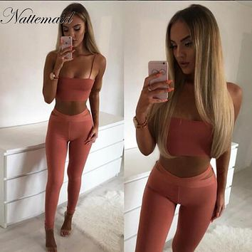 NATTEMAID sexy straps slash neck bodycon Jumpsuit Romper 2017 New Autumn Elegant Jumpsuit Two Piece Long Pants Playsuit Overalls