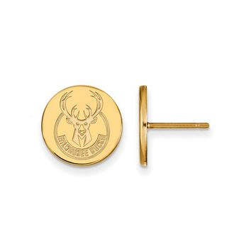 NBA 14k Yellow Gold Plated Silver Milwaukee Bucks Small Disc Earrings