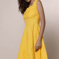 Vintage Sweetheart Neckline Solid Color Cap Sleeve A-Line Dress