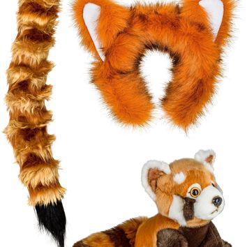 Red Panda Ears, Headband & Tail Set with Plush Toy Red Panda Bundle for Pretend Play Dress Up