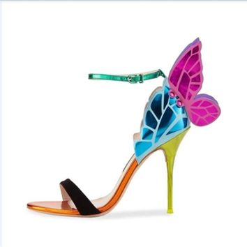 2019 newest magic color wings printing high heels ankle strap sandals sexy open toe women party wedding shoes thin heels