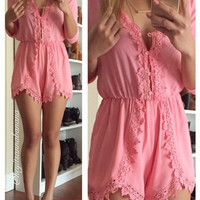 Think Pink Crochet Romper