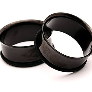 Black Steel Single Flare Tunnels - 8g - 3mm - Sold As a Pair