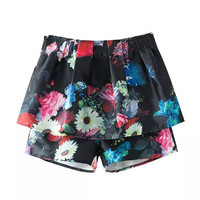 Summer Print Shorts Dress Pants Skirt [4917834372]