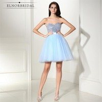 Sky Blue Short Prom Dresses 2018 Vestido Festa Curto Sweetheart Formal Sequins Evening Dress Mini Party Gowns