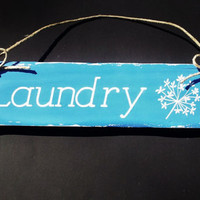 Hand Painted Wood Sign, Wall Hanging, Country, Rustic Decor, Laundry
