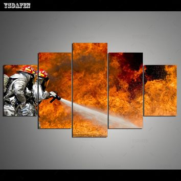 5 Panels Canvas Photo Prints Firefighter Wall Art Picture