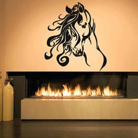 Decal Horse Head Long Hair Drawing Room Wall Vinyl Sticker Decal Art Decor 1382