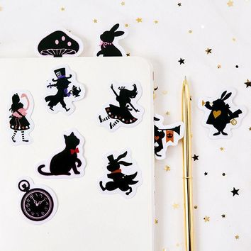 Cool Alice In Wonderland Theme Creative Paper Stickers 4.4*44cm DIY Sealing Sticker 45pcs/lot